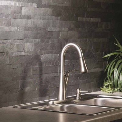Aspect 6 In. x 24 In. Natural Stone Backsplash Peel & Stick, Charcoal Slate