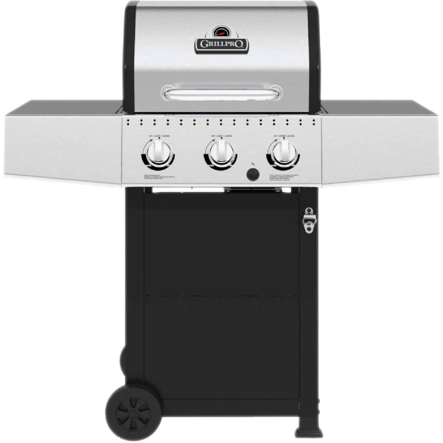 GrillPro 3-Burner Stainless Steel & Black 30,000 BTU LP Gas Grill Image 1